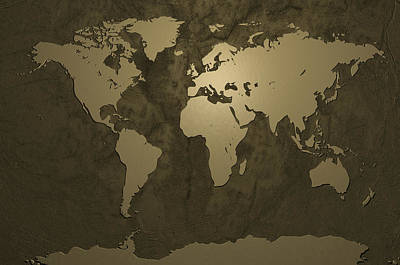 World Map Gold Poster by Michael Tompsett