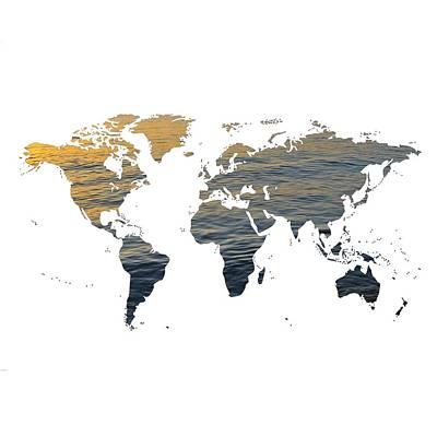 World Map - Ocean Texture Poster