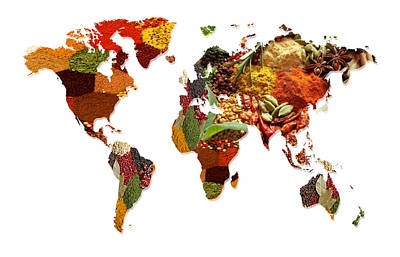 World Map Of Spices And Herbs  Poster