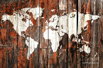 World Map On Planks Poster