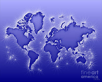 World Map Opala In Blue And White Poster