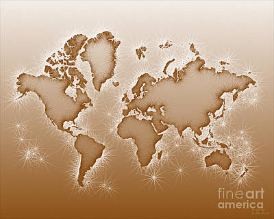 World Map Opala In Brown And White Poster