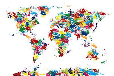 World Map Paint Drops Poster by Michael Tompsett