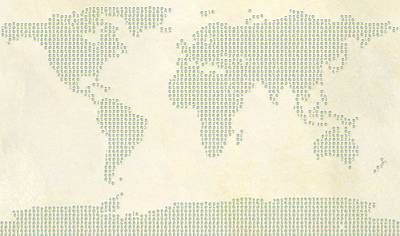 World Map Peace Sign Poster by Dan Sproul
