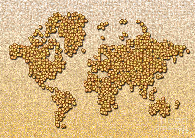 World Map Rolamento In Yellow And Brown Poster
