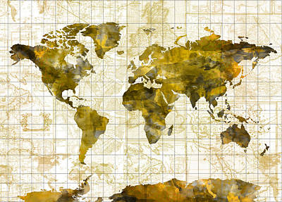 World Map Sepia Vintage Poster