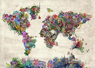 World Map Tropical Skull Leaves Poster