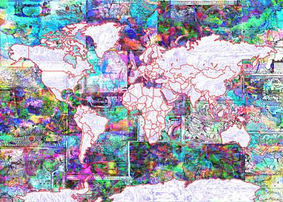 World Map Vintage Color Poster