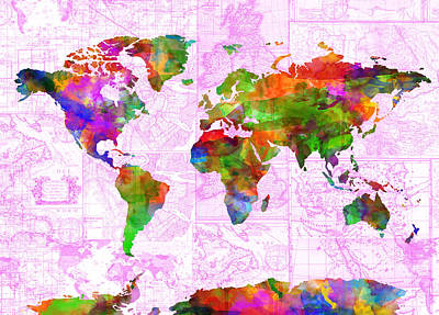 World Map Watercolor Vintage Poster