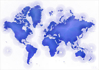 World Map Zona In Blue And White Poster