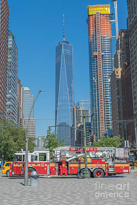 World Trade Center And Fire Truck Poster by Ivan Santiago
