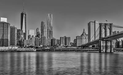World Trade Center And The Brooklyn Bridge Bw Poster by Susan Candelario