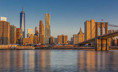 World Trade Center And The Brooklyn Bridge Poster by Susan Candelario