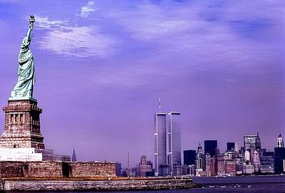 World Trade Center Twin Towers And The Statue Of Liberty  Poster