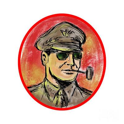 World War II General Corn Cob Pipe Watercolor Poster