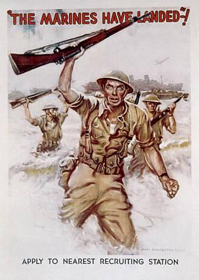 World War II, Marines Recruiting Poster Poster by Everett