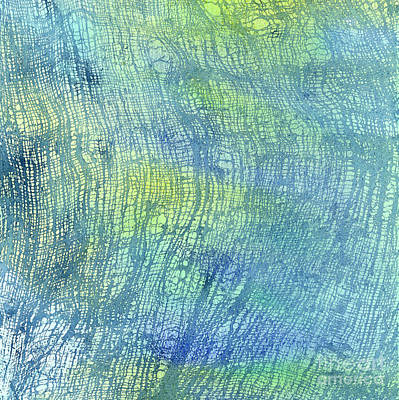 Woven Watercolor Texture Design Blue Gold Square 1 Poster by Sharon Freeman
