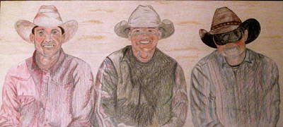 Poster featuring the drawing Wranglers From Elkhorn by Rebecca Wood