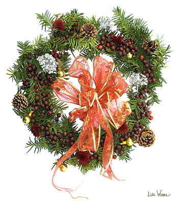 Poster featuring the digital art Wreath With Bow by Lise Winne