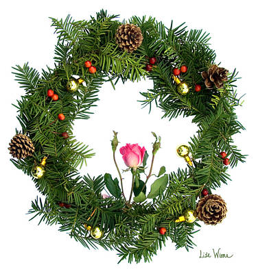 Poster featuring the digital art Wreath With Rose by Lise Winne