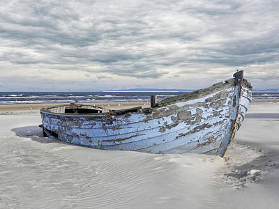 Wreck Of A Barge On A Baltic Beach Poster