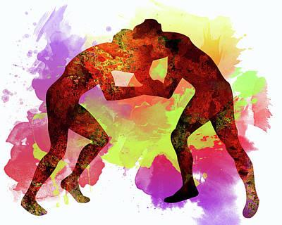 Wrestlers Poster by Elena Kosvincheva