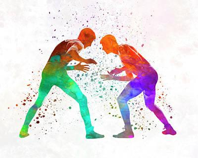 Wrestlers Wrestling Men 01 In Watercolor Poster