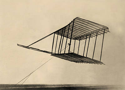 Wright Bothers Glider In Flight 1900 Poster by Bill Cannon