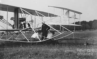 Wright Brothers Biplane On Launch Track 1909 Poster by Padre Art