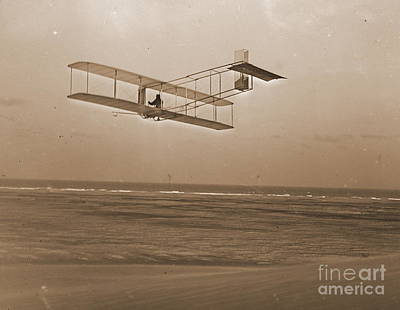 Wright Brothers Gliding At Kitty Hawk Poster by Padre Art