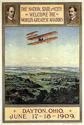 Wright Brothers - World's Greatest Aviators - Dayton, Ohio - Retro Travel Poster - Vintage Poster Poster
