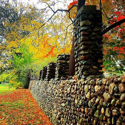 Wright Park Stone Wall In Fall Poster