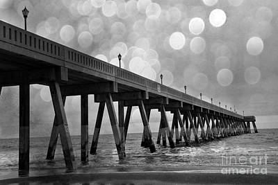 Wrightsville Beach North Carolina Ocean Fishing Pier Black And White Photography Poster by Kathy Fornal