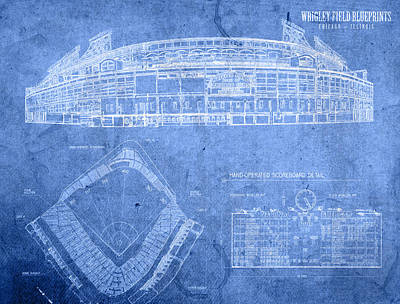 Wrigley Field Chicago Illinois Baseball Stadium Blueprints Poster