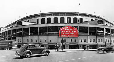 Wrigley Field - Home Of The Cubs C. 1939 Poster by Daniel Hagerman