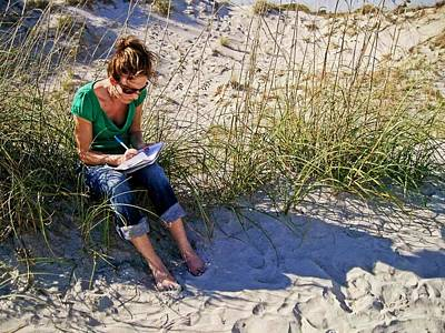 Writing In A Journal At The Beach Poster