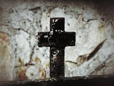 Wrought Iron Cross Against Stone Poster