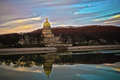 Wv State Capitol At Dusk Poster