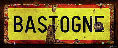 Wwii Bastogne Town Sign Poster