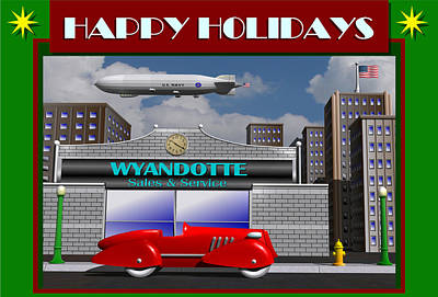Poster featuring the digital art Wyandotte Happy Holidays by Stuart Swartz