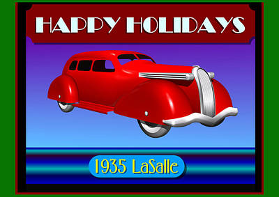 Poster featuring the digital art Wyandotte Lasalle Happy Holidays by Stuart Swartz