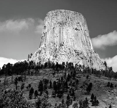 Wyoming Devils Tower National Monument With Climbers Bw Poster
