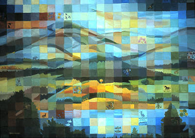 Poster featuring the painting Wyoming Quilt by Dawn Senior-Trask