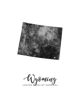 Wyoming State Map Art - Grunge Silhouette Poster