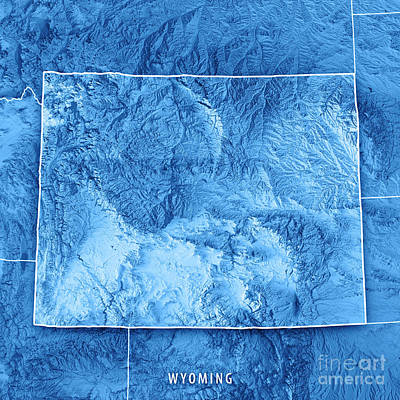 Wyoming State Usa 3d Render Topographic Map Blue Border Poster