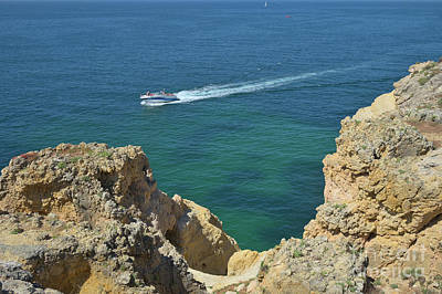 Yacht By The Cliffs In Carvoeiro Poster by Angelo DeVal