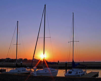 Poster featuring the photograph Yacht Club Sunrise by Judy Vincent
