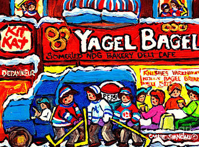 Yagel Bagel Somerled Ave Ndg Bakery Cafe Paintings Montreal Hockey Scene Canadian Art Carole Spandau Poster