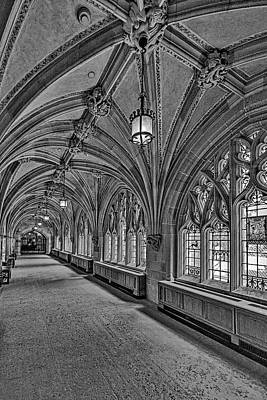 Poster featuring the photograph Yale University Cloister Hallway II Bw by Susan Candelario