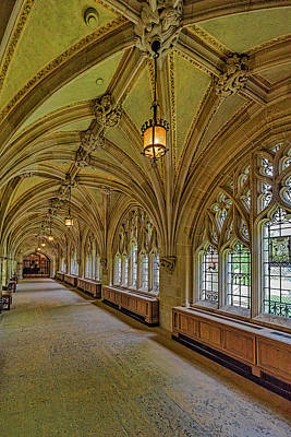 Poster featuring the photograph Yale University Cloister Hallway II  by Susan Candelario
